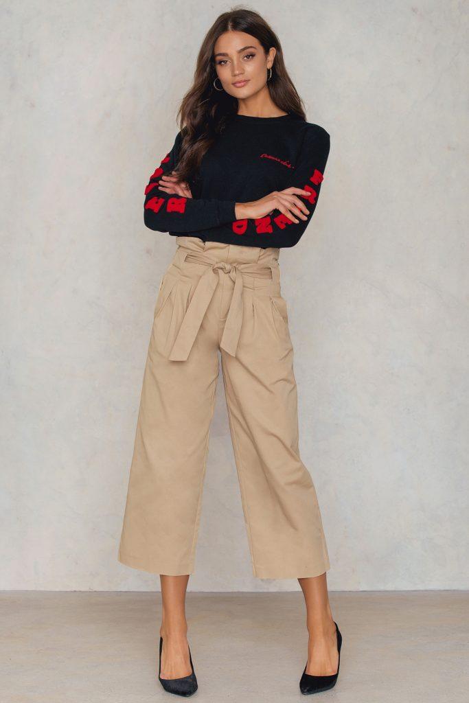брюки с поясом завязкой
