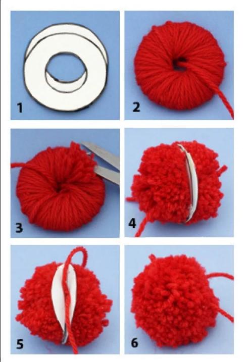 объемная шапка сделать помпон