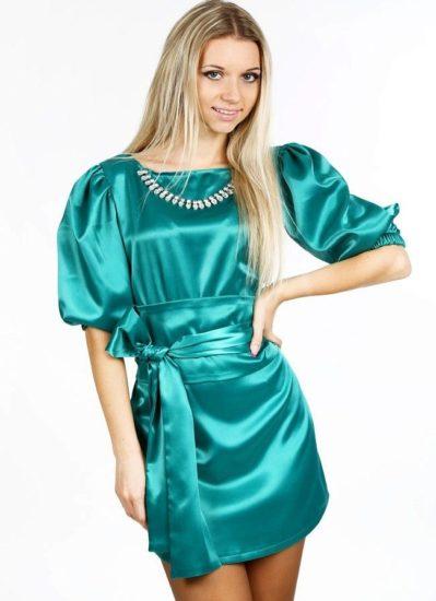 шёлковое платье и рукав фонарик
