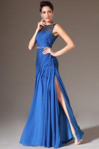 синее платье в пол