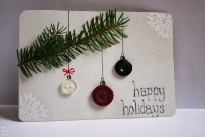 открытки из пуговиц с новым годом