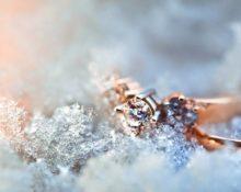 золотое кольцо в снегу
