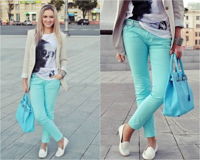 Белые мокасины с брюками