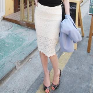 Кружевная юбка и босножки