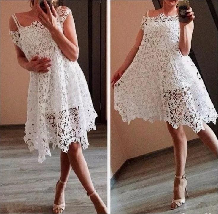 Летнее платье крючком белое 2