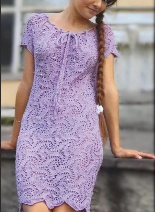 Летнее платье крючком сиреневое