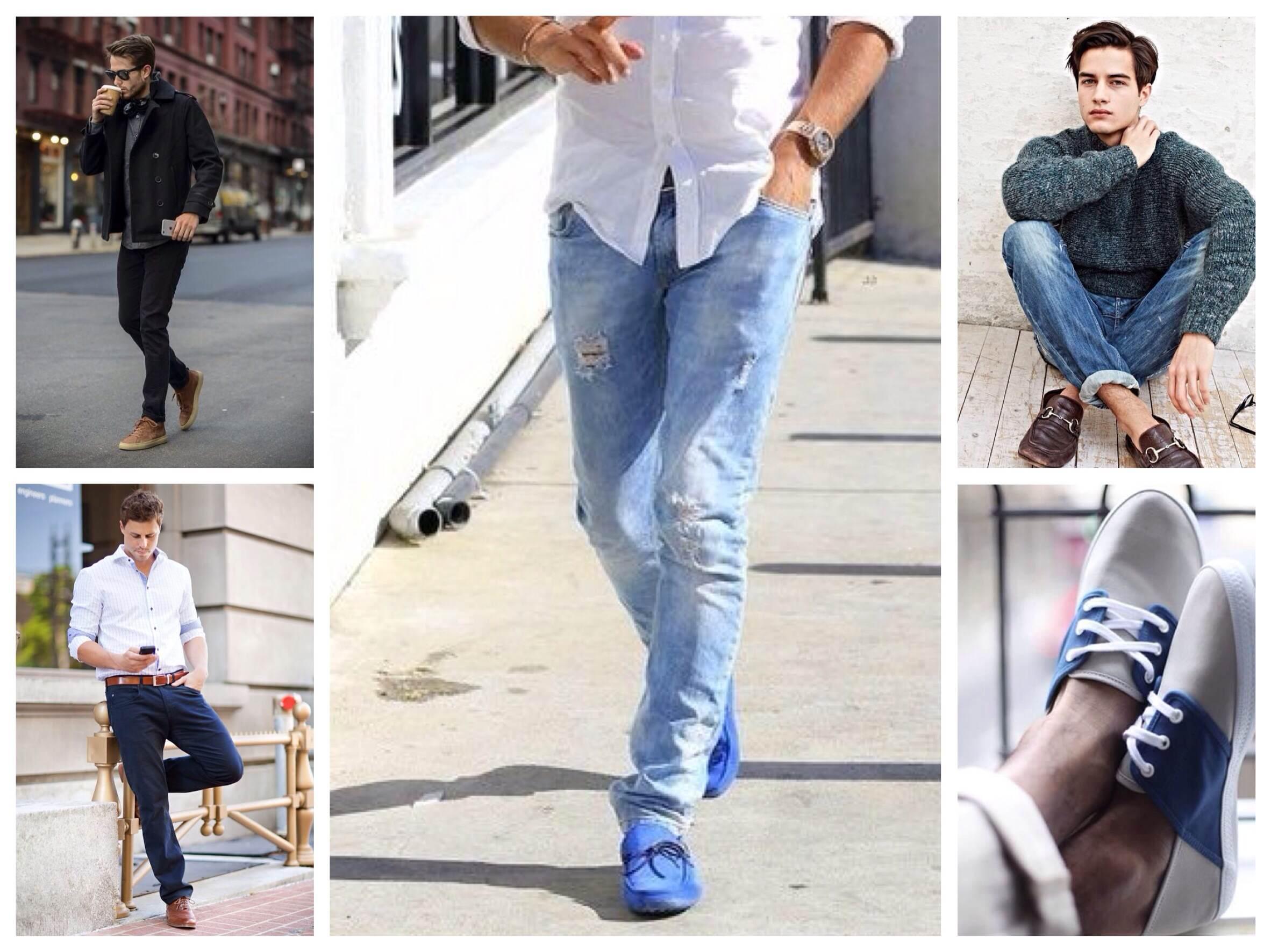 Мокасины с прямыми джинсами