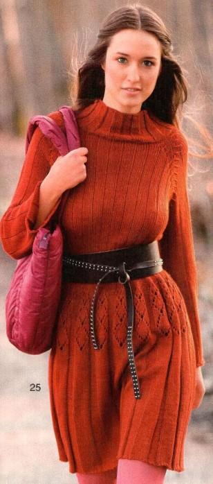 Платье спицами реглан сверху для женщин рыжее