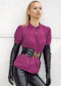 длинные перчатки с блузой