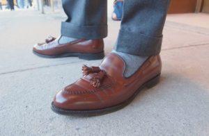 лоферы с контрастными носками