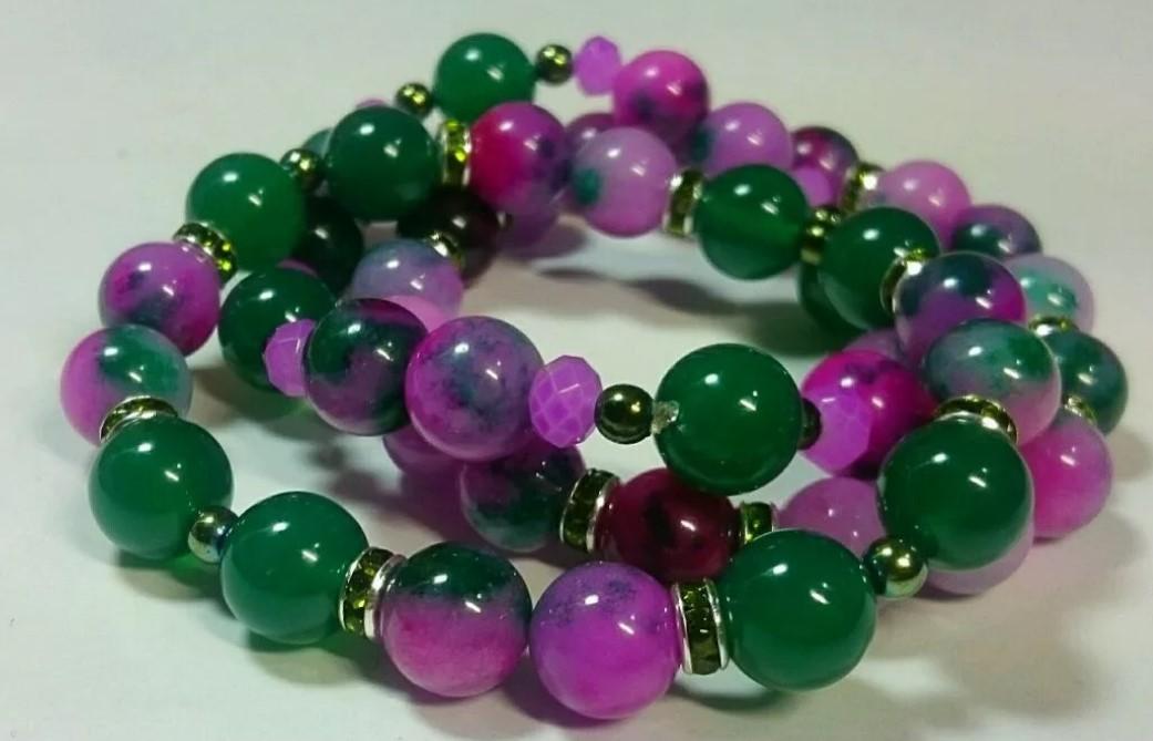 браслет из камня розово-зеленые