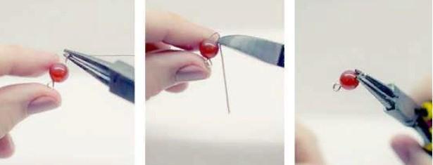 браслет из камня закрепляем бусину