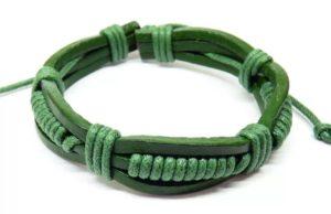 браслет из кожи зеленый