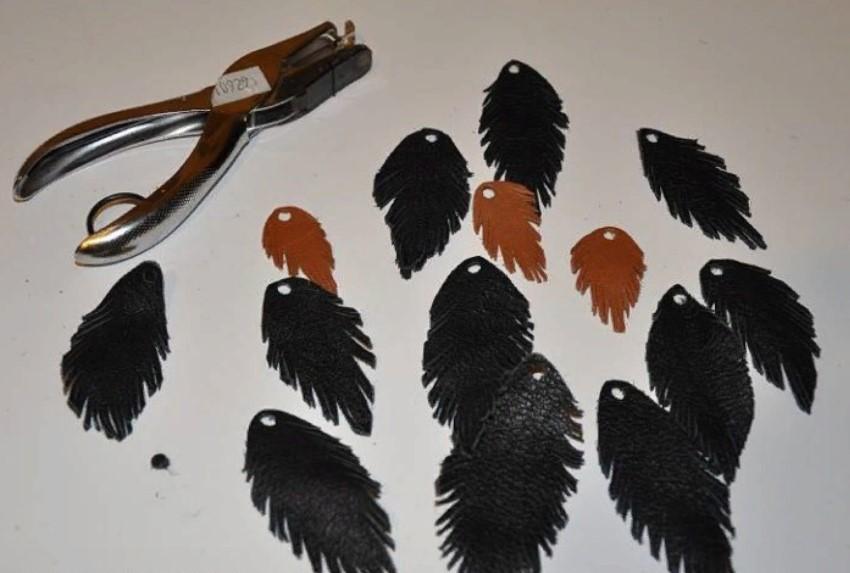 бусы из кожи обрезаем края листьев