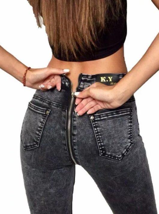 джинсы с молнией на попе 4