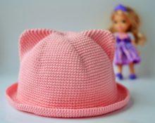 шапка с ушками крючком