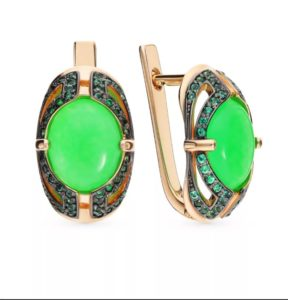 камни серьги с зеленым агатом