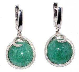 камни серьги с зеленым авантюрином 2