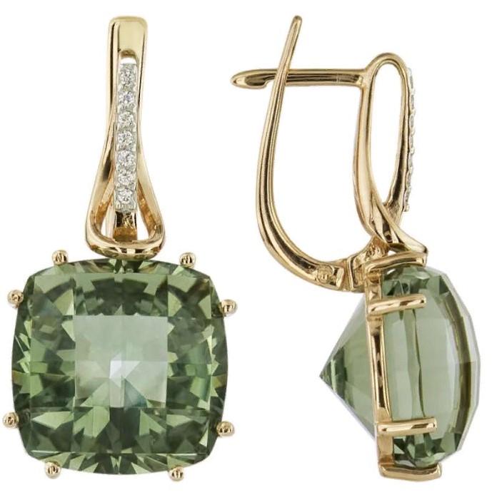 камни серьги с зеленым бериллом