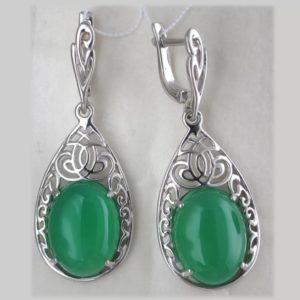 камни серьги с зеленым хризопразом