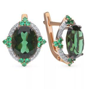 камни серьги с зеленым турмалином 3