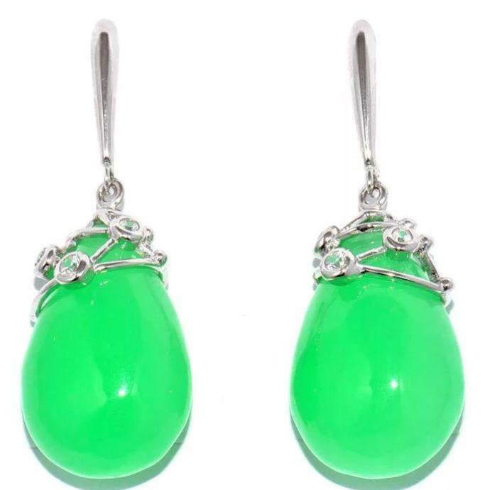 камни серьги с зеленым жадеитом