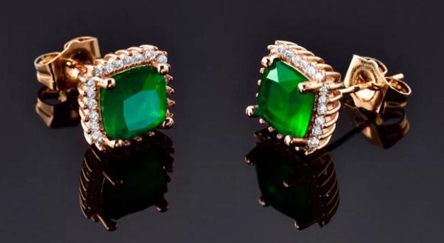 камни серьги зеленый сапфир