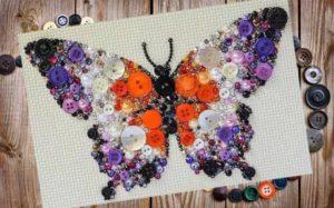картины из пуговиц панно бабочка