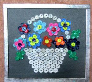 картины из пуговиц цветы