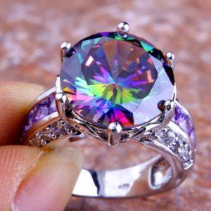 кольцо хамелеон аметист