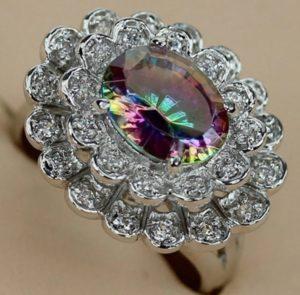 кольцо хамелеон радужный рубин