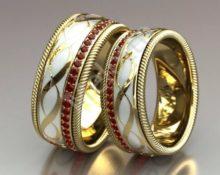 кольцо обручальное с рубинами