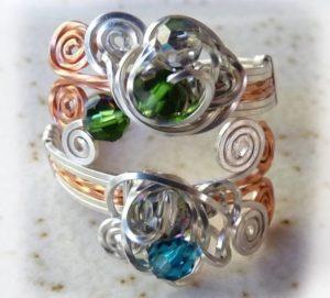 кольцо своими руками из проволок с камнями