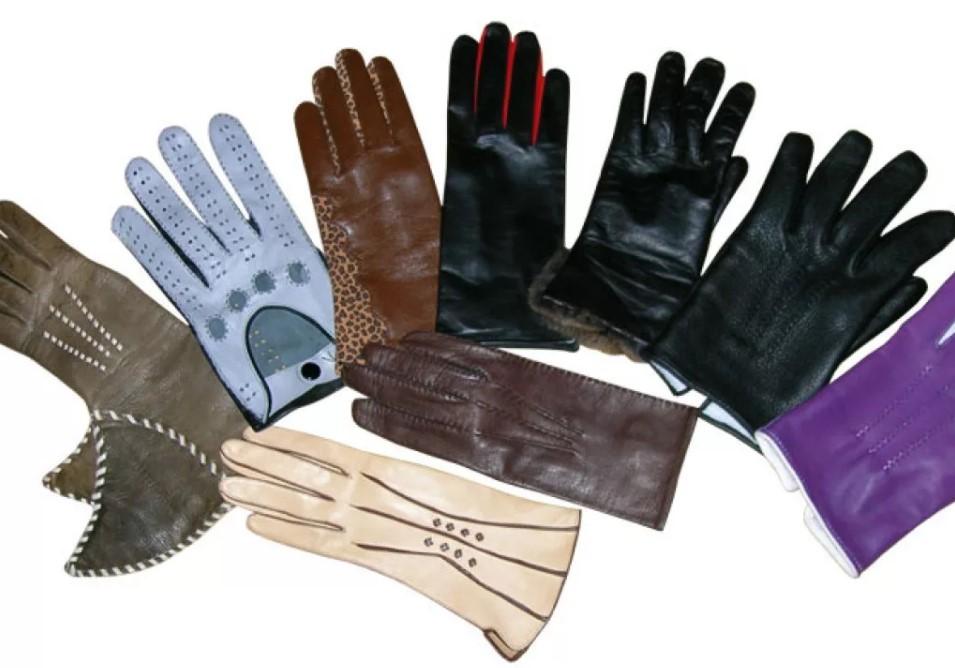 кожаные перчатки из разной кожи