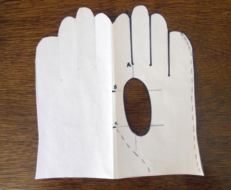 кожаные перчатки выкройка на бумаге