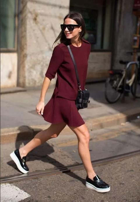 лоферы платье бордовые