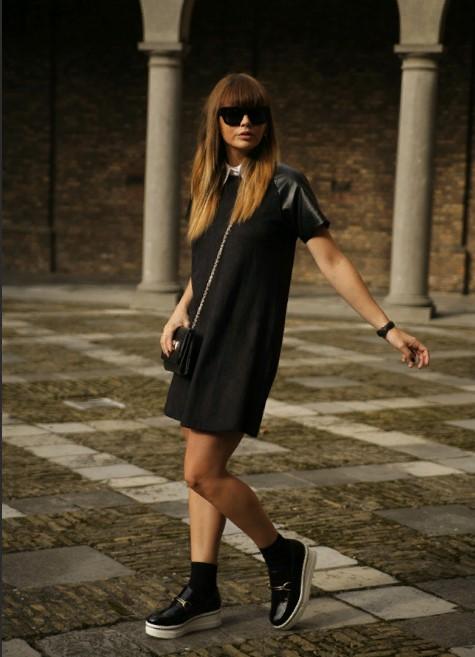 лоферы с черным платьем
