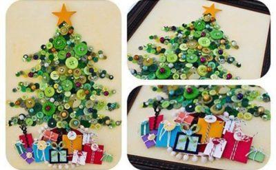 открытки из пуговиц на новый год