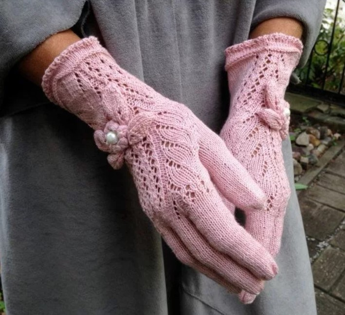 перчатки ажурные спицами