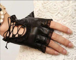 перчатки без пальцев коданые женские с кружевами