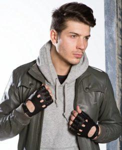 перчатки без пальцев кожаные мужские