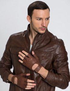 перчатки без пальцев кожаные мужские коричневые