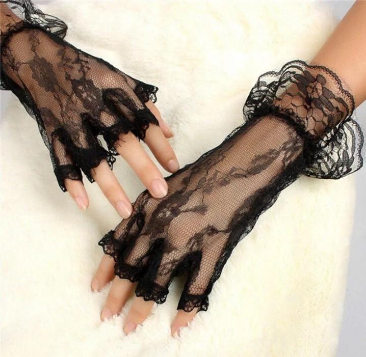 перчатки без пальцев кружевные черные