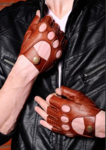перчатки без пальцев мужские митенки рыжие кожаные