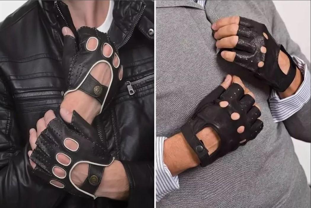перчатки без пальцев с отделкой