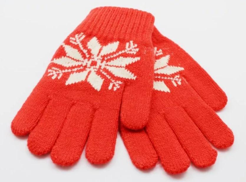 перчатки детские красные с орнаментом
