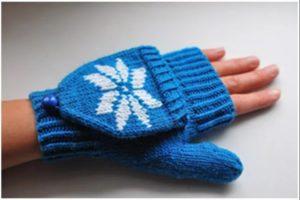 перчатки трансформер синие