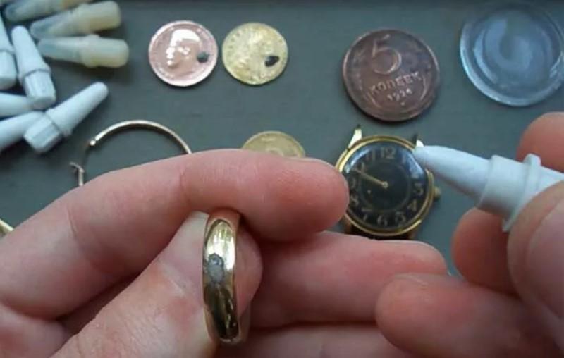 проверка золотого кольца карандашом ляписным