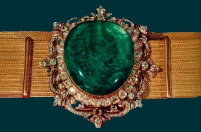 пряжки изумруд с бриллиантами на поясе шейха