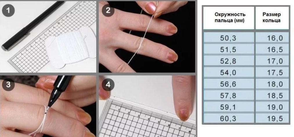размер кольца ниткой